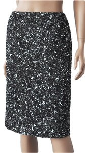 Lafayette 148 New York Sequins Evening Lined Skirt Black