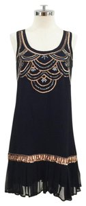 Michael Stars Flapper Dropped Waist Beaded Sequin Silk Dress