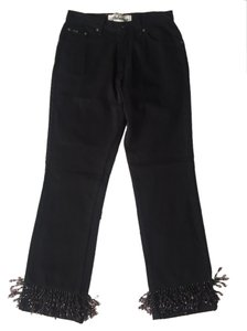 Express Beaded Straight Leg Jeans-Dark Rinse