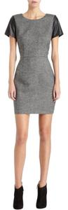 Barneys Co-Op Tweed Shift Sleeves Leather Dress