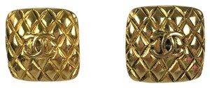 Chanel Chanel large gold vintage quilted clip on earrings