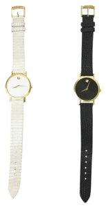 Movado Movado Classic Museum Watches Set Of Two Black White Leather Gold Womens