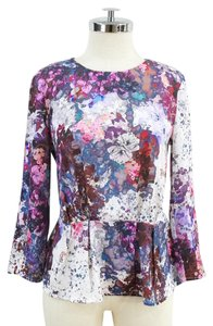 H&M Peplum 3/4 Sleeve Top Floral