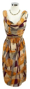 Karen Zambos Cowl Vintage Couture Printed Silk Dress