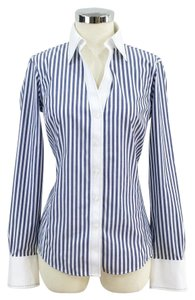 Brooks Brothers Contrast Striped Vertical Button Down Shirt Blue and white