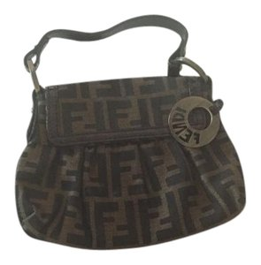Fendi Logo Wristlet in Black/Brown (Fendi Logo)