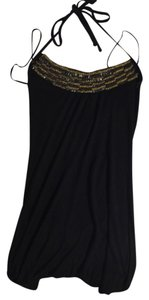 Guess Halter Embellished Jeweled Black Halter Top