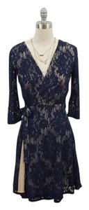 Soprano short dress Navy and nude Longsleeve Lace Wrap Laced on Tradesy
