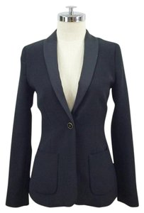 Zara Satin Tuxedo Single Button Patch Pocket black Blazer