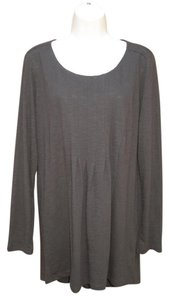 J. Jill Slub Knit Tunic Pleated Top Brown