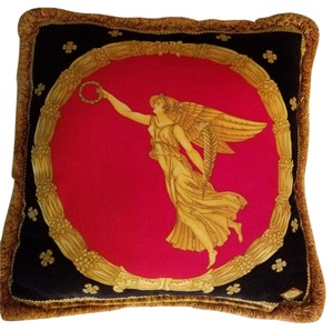 "Versace Vintage Versace 16"" x 16"" Square Throw Pillow. Red Velvet/Ivory Silk"