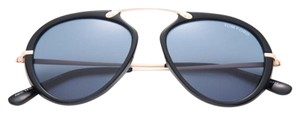 Tom Ford Tom Ford Black Aaron Trimmed Aviator Sunglasses New W Tags