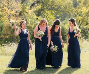 BHLDN Navy Nylon Tulle Lace; Polyester Lining Fleur Style#36081792 Bridesmaid/Mob Dress Size 4 (S)