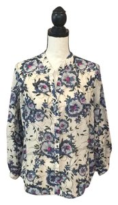 Anthropologie Top Ivory/PInk/Blue