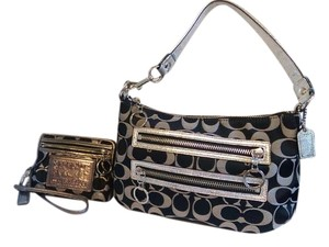 Coach Poppy Signature Black Silver Shoulder Bag