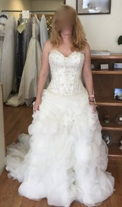 Allure Bridals Ivory Organza Couture C170 Formal Wedding Dress Size 8 (M)