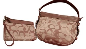 Coach Signature Pink Leather Baguette