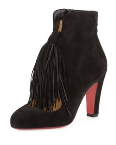 Christian Louboutin Suede Bootie Tassels Black Boots