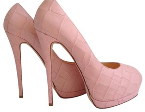 Giuseppe Zanotti Snake-embossed Leather Peep-toe Baby Pink Pumps