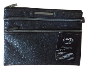 Jones New York Charging Pouch Black Sugar Zippered Pockets Black Sparkle Clutch
