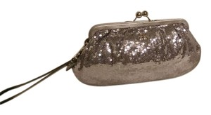 Coach Poppy Sequins Kisslock Silver Clutch