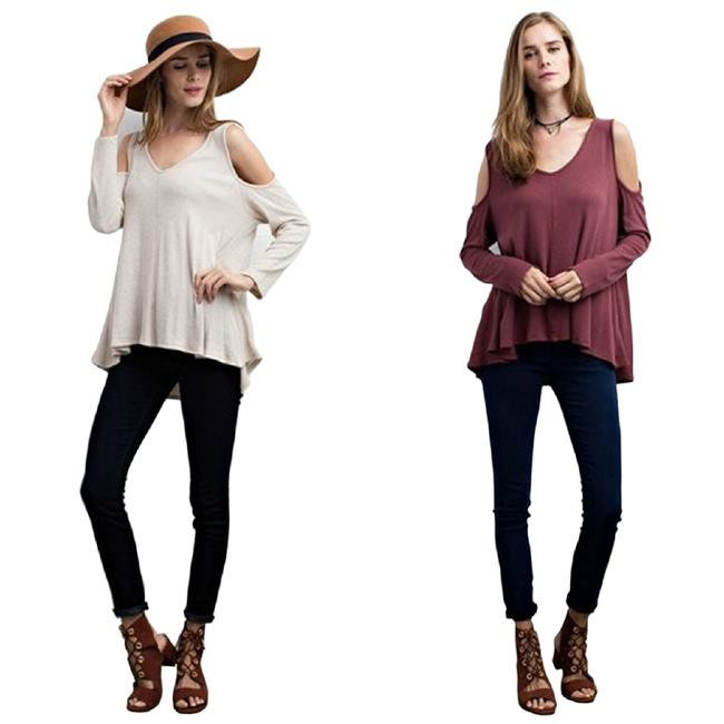 Oatmeal/Red Bean Jodifl Women's Long Sleeve Thermal Cold Shoulder S M L Blouse Size 12 (L) Oatmeal/Red Bean Jodifl Women's Long Sleeve Thermal Cold Shoulder S M L Blouse Size 12 (L) Image 1