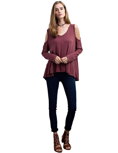 Oatmeal/Red Bean Jodifl Women's Long Sleeve Thermal Cold Shoulder S M L Blouse Size 12 (L) Oatmeal/Red Bean Jodifl Women's Long Sleeve Thermal Cold Shoulder S M L Blouse Size 12 (L) Image 2