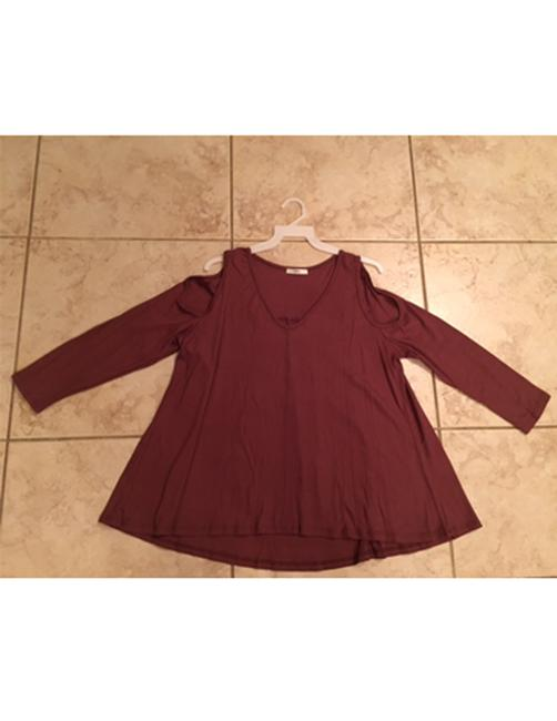 Oatmeal/Red Bean Jodifl Women's Long Sleeve Thermal Cold Shoulder S M L Blouse Size 12 (L) Oatmeal/Red Bean Jodifl Women's Long Sleeve Thermal Cold Shoulder S M L Blouse Size 12 (L) Image 3