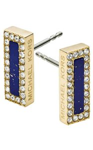 Michael Kors Michael Kors Gold Steel Blue Stone Pave Glitz Earrings MKJ4254710
