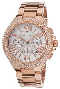 Michael Kors NWT Women's Chronograph Camille Rose Gold-Tone Watch 43mm MK5636