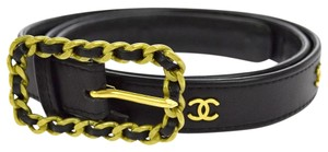 Chanel Chanel Black Leather Gold Chain CC Waist Belt