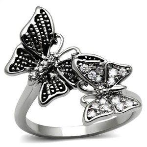 La Bella Rose Stainless Steel Clear CZ Butterfly Ring - 08651