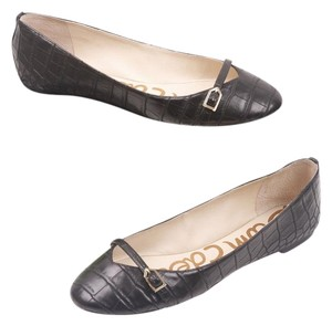 Sam Edelman Ballet Croc Embossed Buckle Black Flats
