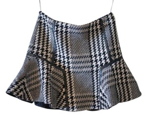 Karen Millen Fall Houndstooth Check Skirt Black and White