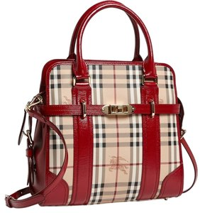 Burberry Check Minford Tote in Haymarket deep red