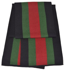 Gucci Gucci 206086 Wool Silk BLACK Red Green Web Stripe Scarf Muffler