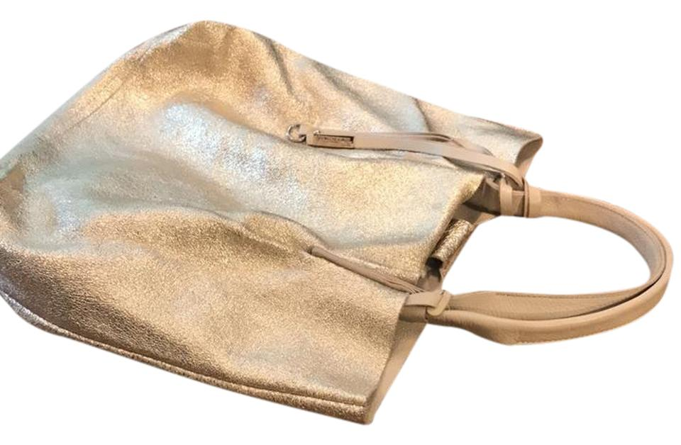 ff8b73be2 Gianni Chiarini Made In Italy Light Beige and Gold Reversible Leather Tote