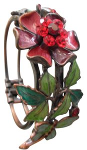 Other Vintage Enameled Cuff Bracelet Red Crystals Flowers Butterfly Leaves