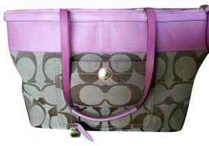 Coach Tote in Khaki With Pink Stripe