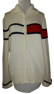 Tommy Hilfiger Xl 2 Way Zipper Ribbed White Sweater