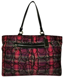 Coach Poppy Signature Patent Leather Extra Large Tote in Pink, Purple, Black Multi Color