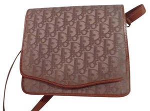 Dior Satchel in taupe trotter logo print canvas & camel leather
