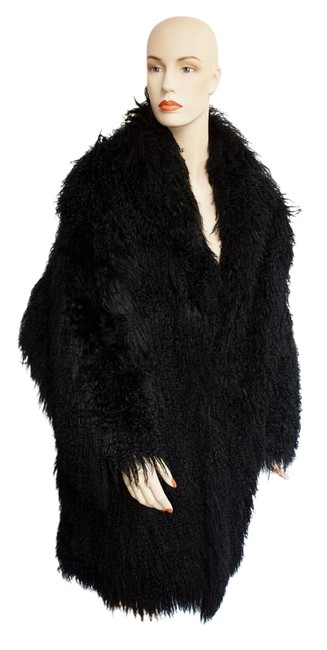 Item - Black Mongolian Lamb With Silk Lining Coat Size 10 (M)
