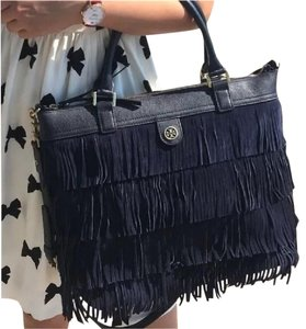 Tory Burch Fringe Large Suede Fall Boho Tote in Navy Blue