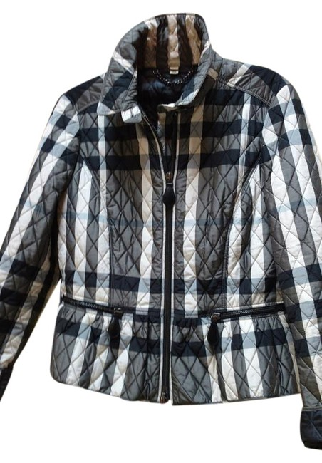 Item - Beige Black & Gray Quilted with Peblum Jacket Size 8 (M)