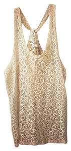 Hi Line Lace Cross-back Top Beige