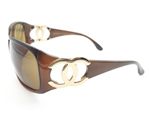 Chanel Authentic Chanel Gold CC Brown Sunglasses in Complete set