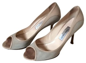 Jimmy Choo Peep Toe Canvas Tan Pumps