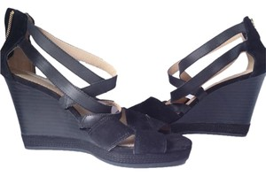 Geox Suede Leather Strappy Sandal Black Wedges