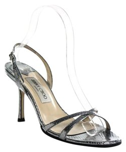 Jimmy Choo Leather Slingback Dressy Silver Sandals